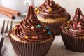 Cupcakes with chocolate cream close-up and coffee, horizontal Royalty Free Stock Photo