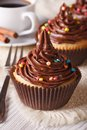 Cupcakes with chocolate cream close-up and coffee, vertical Royalty Free Stock Photo