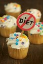 Cupcakes colorful sprinkles no diet sign Stock Photography