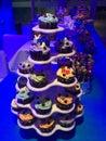Cupcakes colourful vanilla chocolate at a candy bar Stock Photography