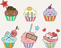 Cupcakes emoticon set of colourful cupcake emotion cartoon Stock Photography