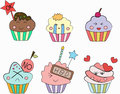 Cupcakes emoticon set of colourful cupcake emotion cartoon Royalty Free Stock Photo