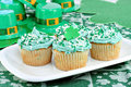 Cupcakes in a Festive St. Patrick's Day Setting Stock Image