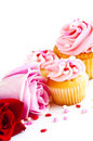 Cupcakes and flowers Royalty Free Stock Images
