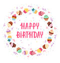 Cupcakes frame happy birthday decoration Royalty Free Stock Images