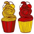 Cupcakes in hand drawn style.