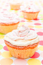 Cupcakes homemade vanilla on pastel background Royalty Free Stock Photography