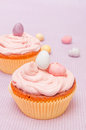 Cupcakes homemade vanilla on pink background Stock Photography