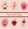 Cupcakes and ice-creams card Stock Images