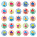Cupcakes icons with flat shadow, vector Royalty Free Stock Photo