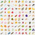 100 cupcakes icons set, isometric 3d style Royalty Free Stock Photo