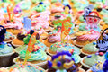 Cupcakes image filled with variety of colorful decorated Stock Image