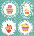Cupcakes on laces frames polka dot grunge wallpaper Royalty Free Stock Images