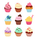 Cupcakes little delicious vector set Royalty Free Stock Images