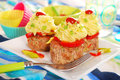 Cupcakes made from minced meat and potato puree for dinner Royalty Free Stock Image
