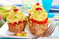 Cupcakes made from minced meat and potato puree for dinner Stock Photo