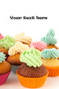 Cupcakes in many colors Stock Photo