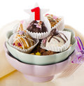Cupcakes number one birthday selective focus Stock Images