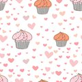 Cupcakes pattern background, Cute bakery pattern.