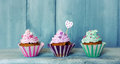 Cupcakes photo of on wooden background Stock Photos