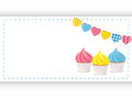 Cupcakes with pink yellow and blue icing on white background with bunting Royalty Free Stock Image