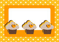 Cupcakes Polka Dot Border Frame Card