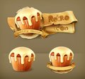 Cupcakes, retro vector icons Royalty Free Stock Photo