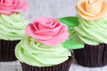 Cupcakes with roses decorated pink and ivory Royalty Free Stock Images