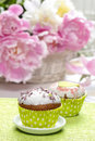 Cupcakes on rustic wooden table Royalty Free Stock Photo