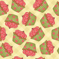 Cupcakes Seamless Pattern Stock Photography