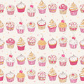 Cupcakes seamless pattern Royalty Free Stock Images