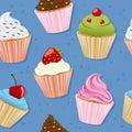 Cupcakes Seamless Pattern