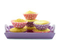 Cupcakes on a serving plate purple isolated Royalty Free Stock Image