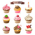Cupcakes set of colorful Royalty Free Stock Photo