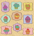 Cupcakes set cupcake on frames and wrinkled paper Stock Photography