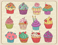 Cupcakes set hand drawn sketchy of on a wrinkled paper Stock Photography