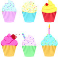 Cupcakes set of six colorful Royalty Free Stock Image