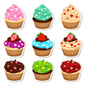 Cupcakes stickers set Royalty Free Stock Photo