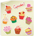 Cupcakes Stickers Set Stock Photo