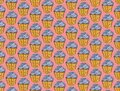 Cupcakes sweets seamless doodle vector pattern hand drawn.Vintage bakery background.