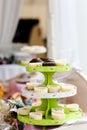 Cupcakes on tier outdoors tasty Stock Photos