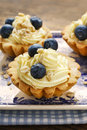 Cupcakes with vanilla cream and blueberries Royalty Free Stock Photo