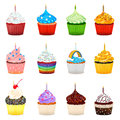 Cupcakes vector illustration collection set of with various topping useful as icon and background for food theme Stock Photo
