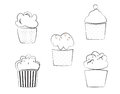 Cupcakes vector illustration set black and white lines