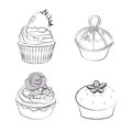 Cupcakes vector set black and white lines