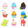Cupcakes vector set isolated on white background. Sweet pastries