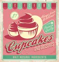 Cupcakes vintage poster design on scratched grunge background retro cakes and desserts label template creative food and drink Stock Photo