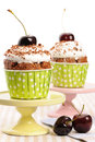 Cupcakes with whipped cream and cherry Stock Image