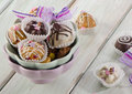 Cupcakes on a wooden table selective focus Royalty Free Stock Photography