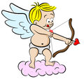 Cupid with bow and arrow vector illustration of a Royalty Free Stock Images